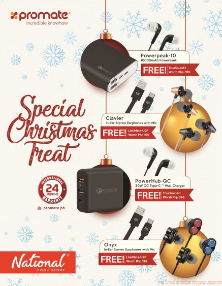 FREE Earphones and Linkmate Cables When You Shop for Promate Gadgets at NBS and Powerbooks