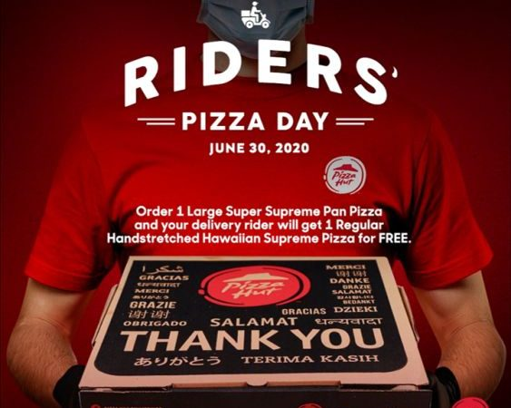 Pizza Hut to Give 1 Box of Free Pizza to a Rider for Every Order of Large Super Supreme on Rider's Pizza Day