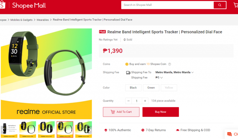 Realme Band Fitness Tracker Smartwatch Now on Shopee