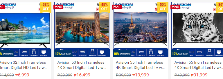 53% OFF on Avision Frameless Smart LED TV at the Shopee Mall