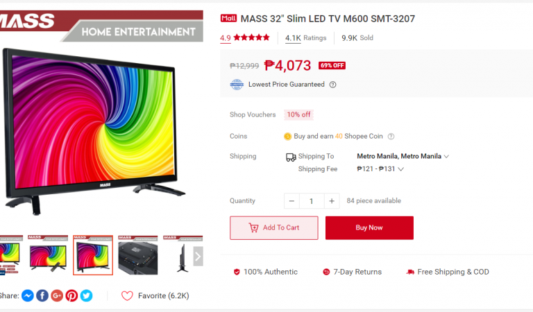 MASS 32″ Slim Wide LED TV for Only 4,073 Pesos – Limited Time Shopee 8.8 SALE Offer