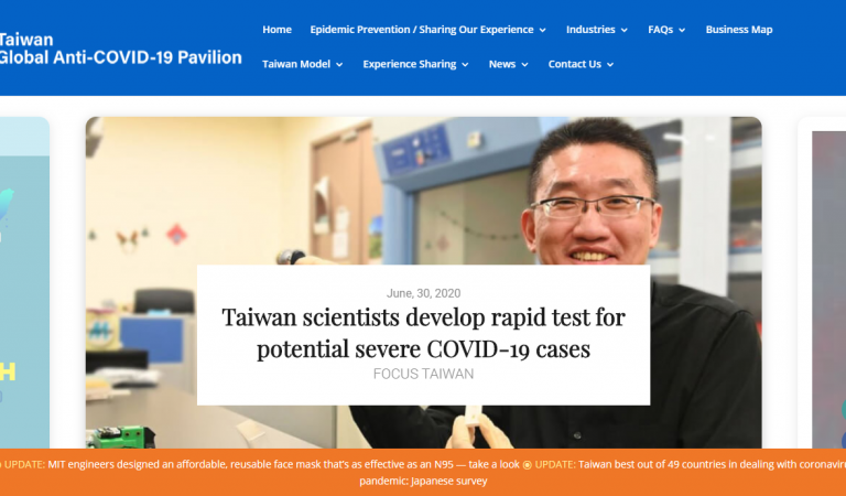 Taiwan Shares Expertise and Covid 19 Best Practices in New Website