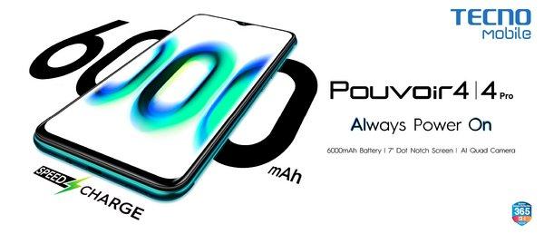Always Power On with TECNO Mobile Pouvoir 4