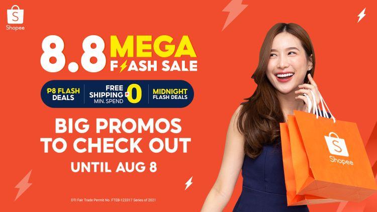 Shopee 8.8 Mega Flash Deals Sale Promos and Prizes