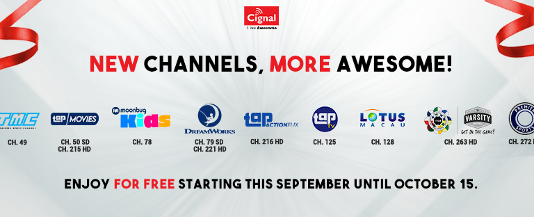 Cignal TV Offers FREE Viewing to 11 New Channels